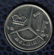 Belgique 1991 Pièce De Monnaie Coin 1 Franc Belge Roi Baudouin Boudewijn I - 1951-1993: Baudouin I