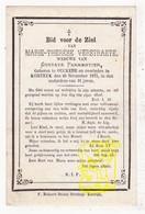 DP Marie Th. Verstraete ° Oekene Roeselare 1844 † Kortrijk 1875 X Gustave Parmentier - Images Religieuses