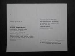 VP BELGIQUE (M1902) DOODSPRENTJE (2 Vues) JEANNE VERHOEVEN WILLEBROEK 21/7/1904 - TISSELT 19/8/1992 - Décès