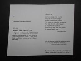 VP BELGIQUE (M1902) DOODSPRENTJE (2 Vues) ALBERT VAN BREEDAM WILLEBROEK 28/6/1910 - WILLEBROEK 21/3/1995 - Décès