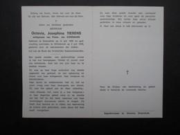 VP BELGIQUE (M1902) DOODSPRENTJE (2 Vues) OCTAVIA JOSEPHINA TIERENS BREENDONK 12/7/1909 - WILLEBROEK 4/7/1978 - Décès