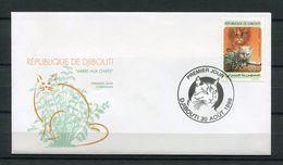 DJIBOUTI ENVELOPPE PREMIER JOUR FDC 1998 Michel Mi 667 ARBRE AUX CHATS CATS CAT CHAT KATZEN TREE - RARE - Djibouti (1977-...)