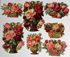 7 Image Découpis Fleurs Bouquet De Roses Dans Panier Composition Florale Nature Morte - Flowers