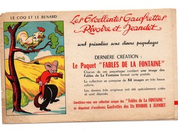 Buvard Les Excellentes Gaufrettes Rivoire Et Jeandet Fables De La Fontaine Le Coq Et Le Renard - Alimentaire