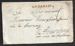 1777 - LAC - ST. GERMAIN 37mm X 4mm (SEINE ET OISE) A TOURCOING Par LILLE En FLANDRE - Marcophilie (Lettres)