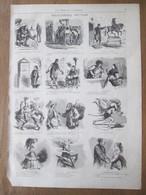 6 Gravures 1872  Revue Comique Par Cham Bande Dessinée Caricature - Old Paper