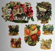 7 Image Découpis Fleurs + Oiseau Colombe Pigeon Bouquet De Fleurs Dans Panier Composition Florale - Flowers