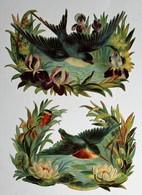 2 Grandes Image Découpis Fleurs + Oiseau Mésange - Flowers