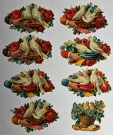 8 Image Découpis Fleurs + Oiseau Colombe Dans Une Main - Flowers