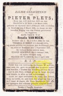 DP Pieter Plets / Dubois ° Oekene Roeselare 1819 † Rumbeke 1906 X R. Van Moen / D'Hondt 1814-1877 Kerckhof De Vlaminck - Images Religieuses