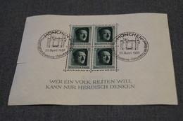 ALLEMAGNE - BLOCS FEUILLETS - O - N°8 - ADOLF HITLER - Obl. Grd Cachet Illustré 1937 Pour Collection - Allemagne