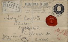 1917- REG. LETTER  Two Pence  De L'A P O . S.1.  Situé à ABBEVILLE ( Somme ) Censure 39 - Guerre De 1914-18
