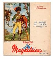 Buvard Biscottes Magdeleine Granville Les Soldats De France Chasseur à Cheval De La Garde 1809 Napoléon - Alimentaire