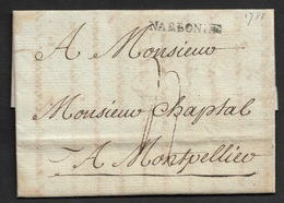 1788 - LAC - NARBONNE (AUDE) 29mm X 3mm Pour MONTPELLIER - Marcophilie (Lettres)