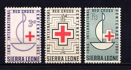 SIERRA  LEONE    1963    Centenary  Of  Red  Cross    Set  Of  3    MNH - Sierra Leone (1961-...)