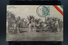 Carte Photo Libye Libia Afrique Tripoli  Italie Soldats Italiens Giardini Guarscia Dromadaires - Libya