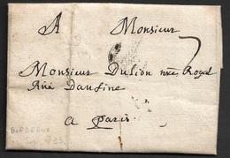 1733 - LAC - BORDEAUX B Couronné Pour PARIS - 1701-1800: Précurseurs XVIII
