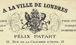 """1893 PARIS """"A La Ville De Londres"""" FELIX PATART MODES RUBANS SOIRIES ENGLISH SPOKEN VOIR SCANS - France"""