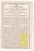 DP Silvie Marie L. Donckele 33j. ° Rumbeke Roeselare 1851 † Avelgem 1885 X Augustule Delrue - Images Religieuses