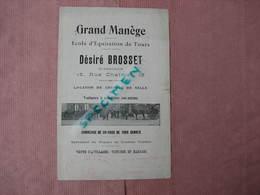 TOURS Ecole D'équitation 1904 Grand Manége Desiré Brosset Dir. 15 Rue Chalmel.  BE - Equitation