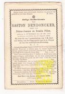 DP Gaston DenDoncker / Pillen 19j.  ° Rumbeke Roeselare 1875 † 1894 - Images Religieuses