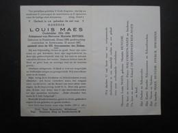 VP BELGIQUE (M1902) DOODSPRENTJE (2 Vues) LOUIS MAES RUISBROEK 10/5/1909 - ANTWERPEN 10/4/1967 - Décès