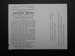 VP BELGIQUE (M1902) DOODSPRENTJE (2 Vues) LEONTINA IMPENS WICHELEN 30/9/1872 - WILLEBROEK 29/5/1965 - Décès