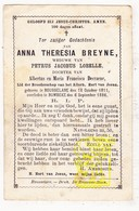 DP Anna Th. Breyne / DeCraene ° Roeselare 1811 † Rumbeke 1886 X Petrus J. Lobelle - Images Religieuses