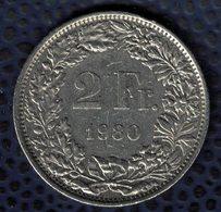 Suisse 1980 Pièce De Monnaie Coin 2 Francs Femme Debout Regardant Vers La Gauche SU - Suisse