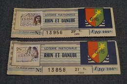 2 Billets Loterie Nationale FRANCE,1959,Rhin Et Danube,200 F. - Lottery Tickets