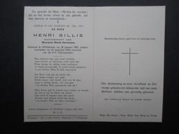 VP BELGIQUE (M1902) DOODSPRENTJE (2 Vues) HENRI GILLIS WILLEBROEK 29/1/1887 - WILLEBROEK 23/8/1958 - Décès