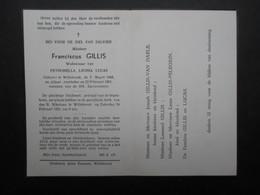 VP BELGIQUE (M1902) DOODSPRENTJE (2 Vues) FRANCISCUS GILLIS WILLEBROEK 3/3/1868 - WILLEBROEK 22/2/1951 - Décès