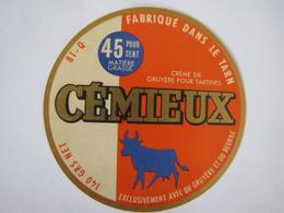 Etiquette De Crème De Gruyère Pour Tartines CEMIEUX Fabriqué Dans Le TARN 50% 81-Q - Cheese