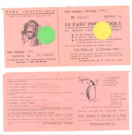 Ticket D'entrée Au Parc Zoologique , Zoo De St-Jean-Cap-Ferrat  (b244) - Tickets - Vouchers