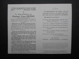 VP BELGIQUE (M1902) DOODSPRENTJE (2 Vues) FRANS DIETENS RAMSDONK 24/3/1887 - MECHELEN 1/7/1963 - Décès