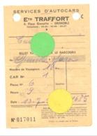 Ticket De Voyage En Autocars Des Ets TRAFFORT à GRENOBLE En 1956 , Car, Oldtimer,bus,..  (b244) - Tickets - Vouchers