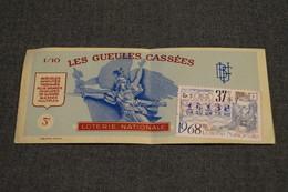 Billet Loterie Nationale FRANCE,1968,les Gueules Cassées, 3F - Billets De Loterie