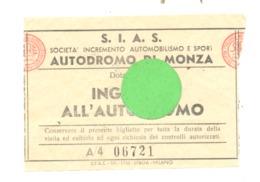 Ticket D'entrée Pour Le Cicuit Automobile De MONZA   (b244) - Tickets - Vouchers