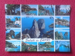 POSTAL POST CARD CARTE POSTALE ITALIA ITALY POSTCARD SALUTI DA CAPRI WITH STAMP CON SELLO DIVERSAS VISTAS VER FOTOS Y DE - Italia