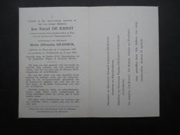 VP BELGIQUE (M1902) DOODSPRENTJE (2 Vues) JAN EMIEL DE KUNST BLAASVELD 5/8/1890 - WILLEBROEK 21/6/1963 - Décès