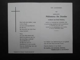 VP BELGIQUE (M1902) DOODSPRENTJE (2 Vues) PHILOMENA DE DONDER LONDERZEEL 16/12/1898 - MECHELEN 9/5/1972 - Décès