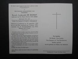 VP BELGIQUE (M1902) DOODSPRENTJE (2 Vues) KAREL LODEWIJK DE BONDT LONDERZEEL 20/9/1879 - LONDERZEEL 8/1/1964 - Décès