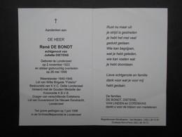 VP BELGIQUE (M1902) DOODSPRENTJE (2 Vues) RENé DE BONDT LONDERZEEL 2/11/1922 - LONDERZEEL 26/5/1996 - Décès