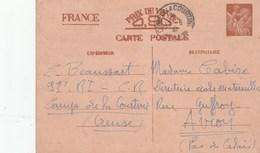 ENTIER IRIS 90C CAD CAMP DE LA COURTINE 93e REGIMENT INF 17/5/41 POUR AVION PDC - Cartes Postales Types Et TSC (avant 1995)
