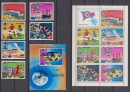 North Korea 05.08.1976 Mi # 1523x-28x A Kbogen 1523y-29y A Bl 28 A Montreal Summer Olympics, 1974 FIFA World Cup - Estate 1976: Montreal