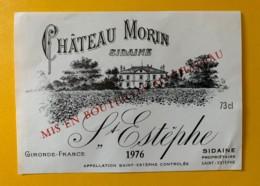 9578 - Château Morin Sidaine 1976 Saint-Estèphe Spécimen - Bordeaux