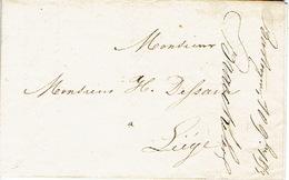 """10/09/1853 BASTOGNE Vers LIEGE - Lettre Par Messager """"MIYACE"""" Signé Ch. BRAECKELAER - Belgique"""