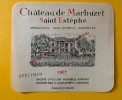 9581 - Château De Marbuzet 1967 Saint-Estèphe  Spécimen - Bordeaux