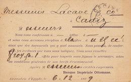 Egypt Egypte Postal Stationery Ganzsache Entier PRIVATE Print BANQUE IMPÉRIALE OTTOMANE, ALEXANDRIE 1899 CADIZ Spain - Égypte