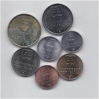 SLOVAKIA SET 7 COINS 10 20 50 HALIER 1 2 5 10 KORUN PRE-EURO  COINS  UNC - Slovakia